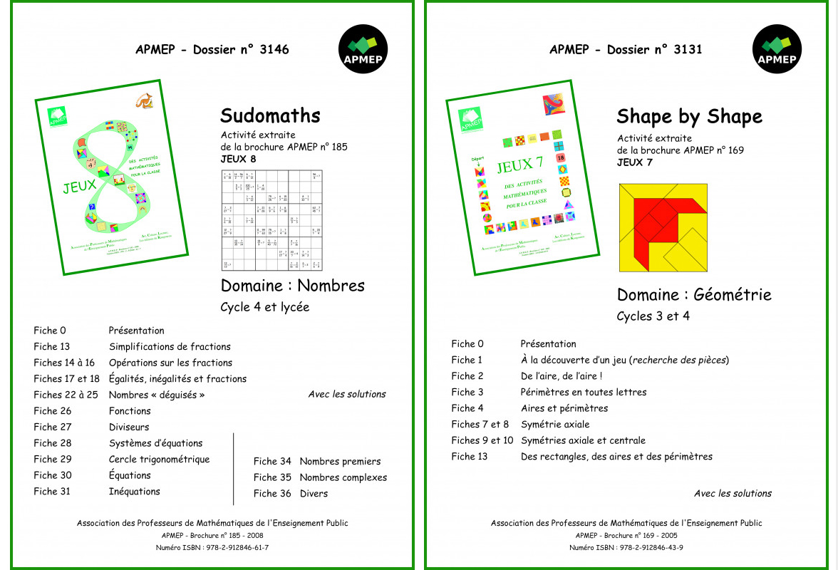Apmep Sudomath shape by shape